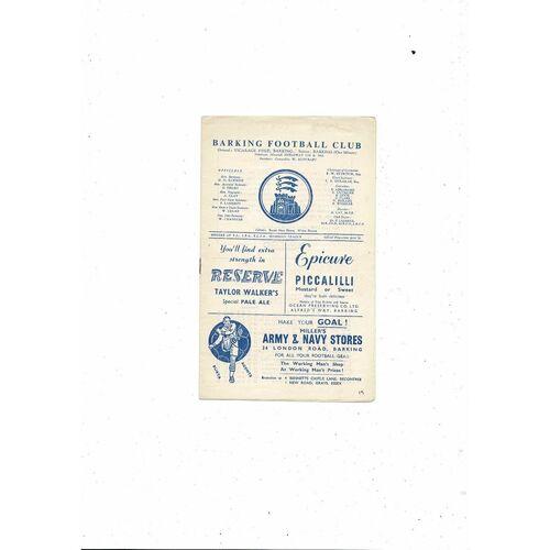 1958/59 Barking v Leytonstone Football Programme