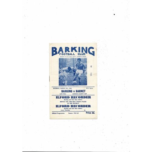 1961/62 Barking v Barnet London Charity Cup Semi Final Football Programme