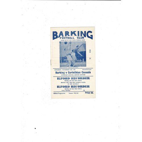 1961/62 Barking v Corinthian Casuals Football Programme