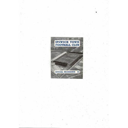 1959/60 Ipswich Town v Aston Villa Football Programme