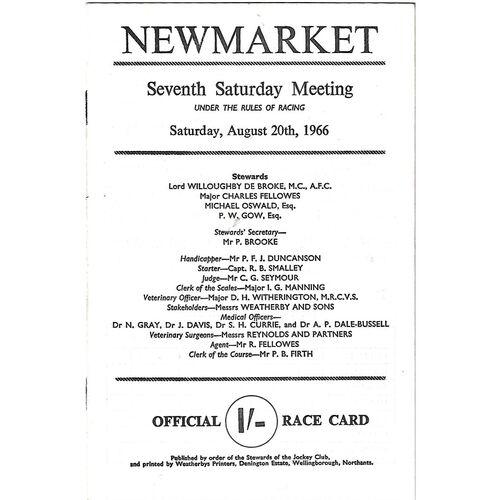 1966 Newmarket Seventh Saturday Race Meeting (20/08/1966) Horse Racing Racecard