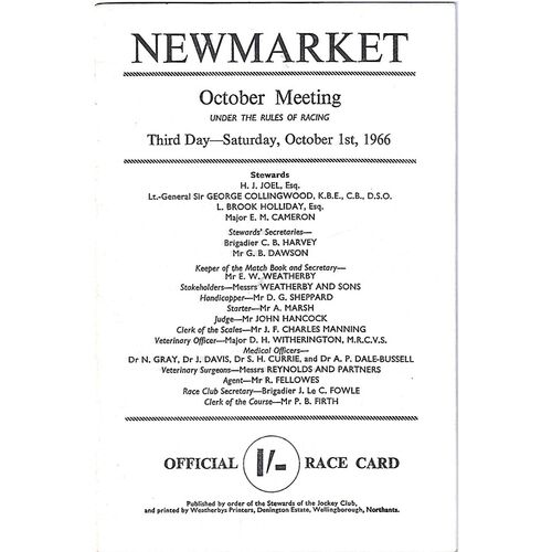 1966 Newmarket October Meeting (Cesarewitch Stakes) Race Meeting (01/10/1966) Horse Racing Racecard