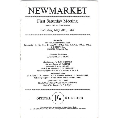 1967 Newmarket First Saturday Race Meeting (20/05/1967) Horse Racing Racecard