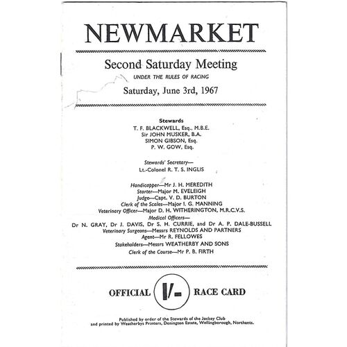 1967 Newmarket Second Saturday Race Meeting (03/06/1967) Horse Racing Racecard