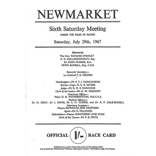 1967 Newmarket Sixth Saturday Race Meeting (29/07/1967) Horse Racing Racecard