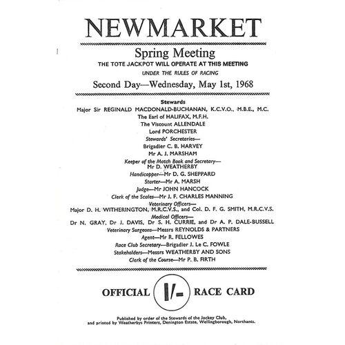 1968 Newmarket Spring Meeting (2,000 Guineas Stakes) Race Meeting (01/05/1968) Horse Racing Racecard