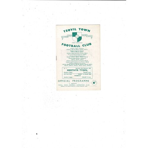1962/63 Yeovil Town v Merthyr Tydfil Football Programme