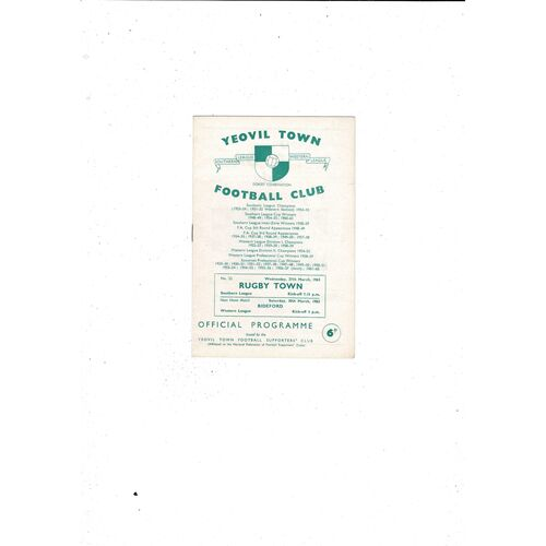 1962/63 Yeovil Town v Rugby Town Football Programme