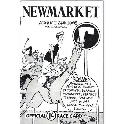 1968 Newmarket Race Meeting (24/08/1968) Horse Racing Racecard