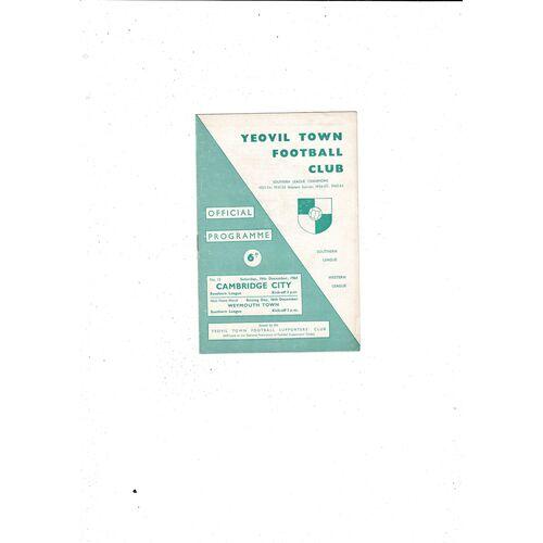 1964/65 Yeovil Town v Cambridge City Football Programme