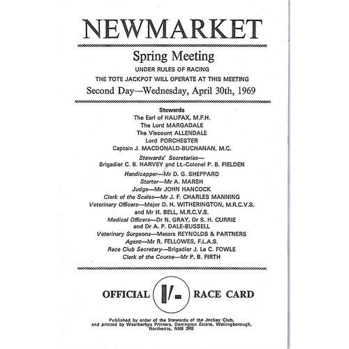 1969 Newmarket Spring Meeting (2,000 Guineas Stakes) Race Meeting (30/04/1969) Horse Racing Racecard