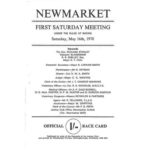 1970 Newmarket First Saturday Race Meeting (16/05/1970) Horse Racing Racecard