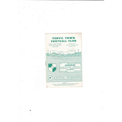 1967/68 Yeovil Town v Minehead Somerset Professional Cup Football Programme