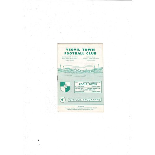 1967/68 Yeovil Town v Poole Town Southern League Cup Replay Football Programme