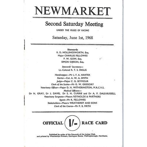 1968 Newmarket Second Saturday Race Meeting (01/06/1968) Horse Racing Racecard