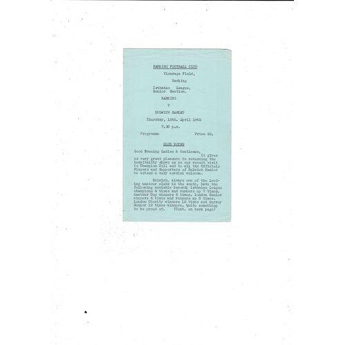 1961/62 Barking v Dulwich Hamlet Football Programme