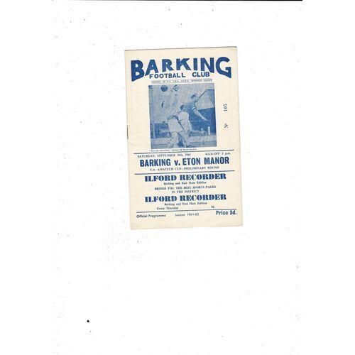 1961/62 Barking v Eton Manor Amateur Cup Football Programme