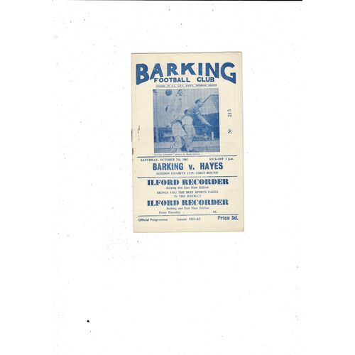1961/62 Barking v Hayes London Charity Cup Football Programme