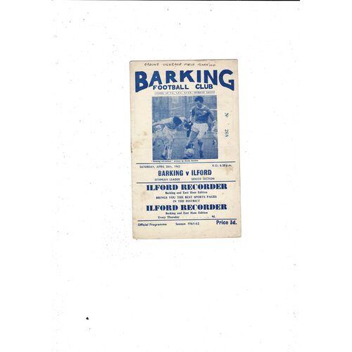 1961/62 Barking v Ilford Football Programme