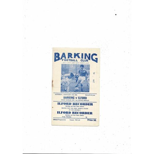 1961/62 Barking v Ilford Essex Senior Cup Replay Football Programme