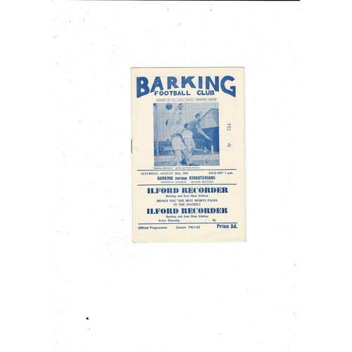 1961/62 Barking v Kingstonian Football Programme