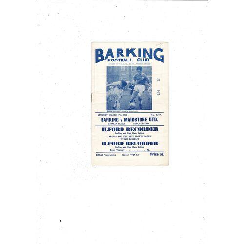 1961/62 Barking v Maidstone United Football Programme