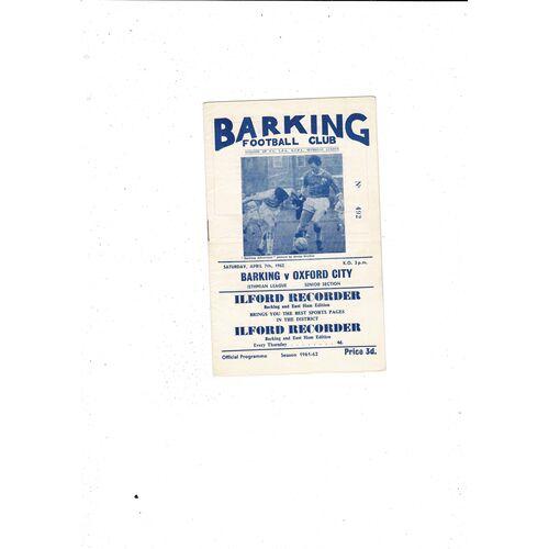 1961/62 Barking v Oxford City Football Programme