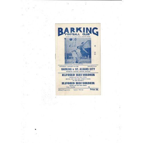1961/62 Barking v St Albans City Football Programme