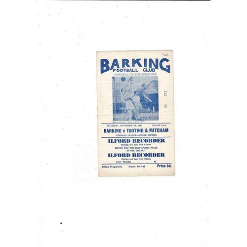 1961/62 Barking v Tooting & Mitcham Football Programme