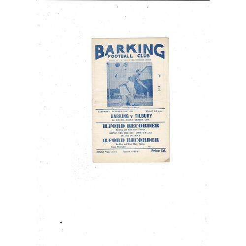 1961/62 Barking v Tilbury Essex Senior Cup Football Programme