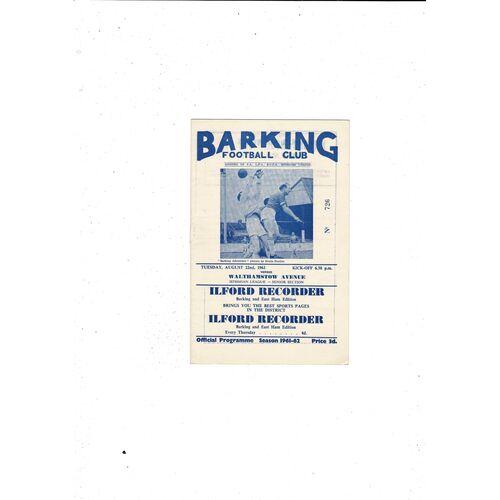 1961/62 Barking v Walthamstow Avenue Football Programme