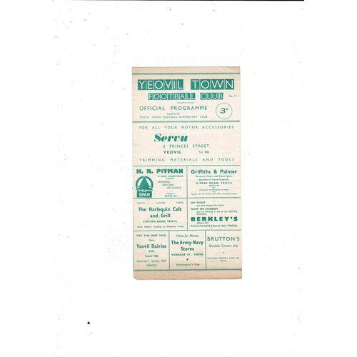 1960/61 Yeovil Town v Merthyr Tydfil Southern League Cup Football Programme