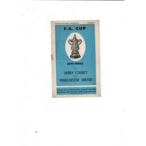 1948 Derby County v Manchester United FA Cup Semi Final Football Programme