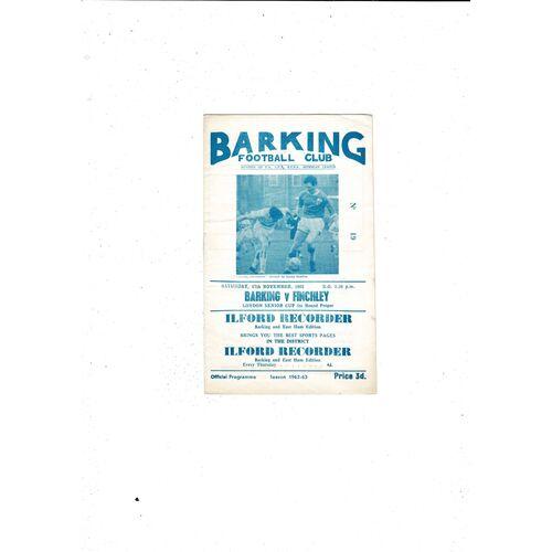 1962/63 Barking v Finchley London Senior Cup Football Programme