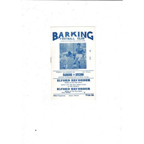1962/63 Barking v Hitchin Mithras Cup Football Programme