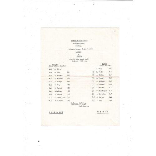 1962/63 Barking v Ilford Football Programme