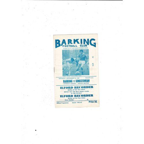 1962/63 Barking v Kingstonian Football Programme