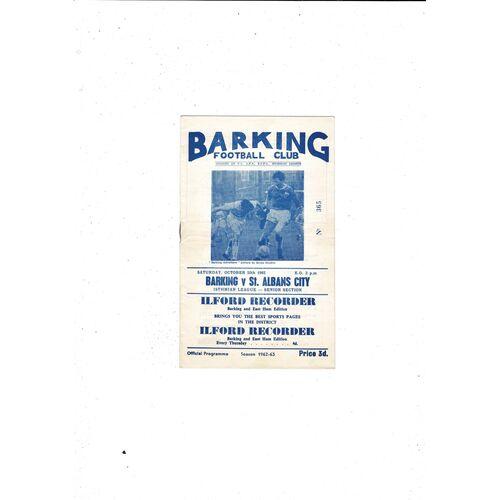 1962/63 Barking v St Albans City Football Programme