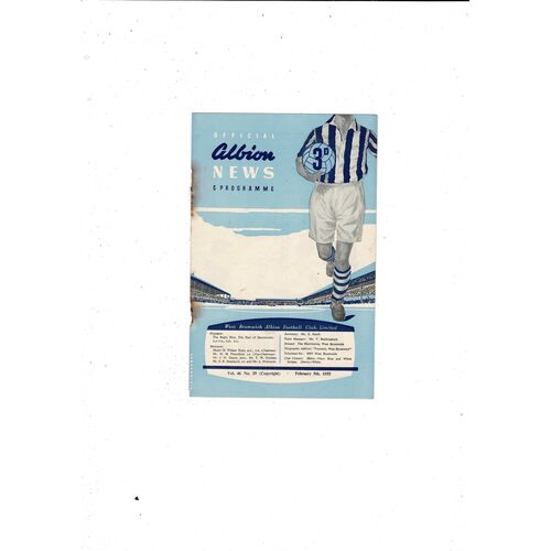 1954/55 West Bromwich Albion v Burnley Football Programme