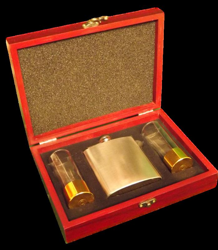 Hip Flask & Shot glasses gift boxed