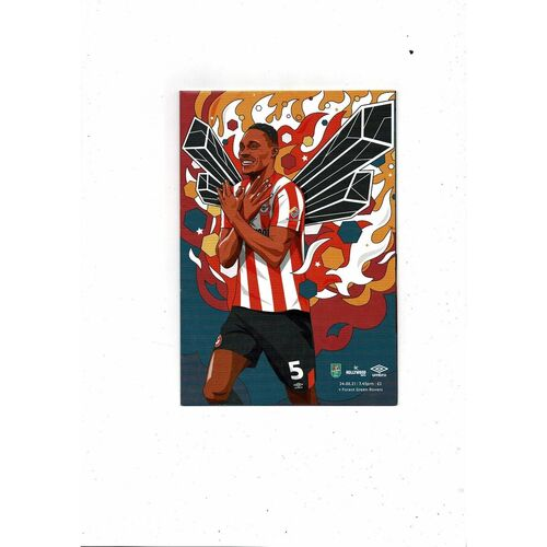 2021/22 Brentford v Forest Green Rovers Carabao Cup Football Programme + Team Sheet