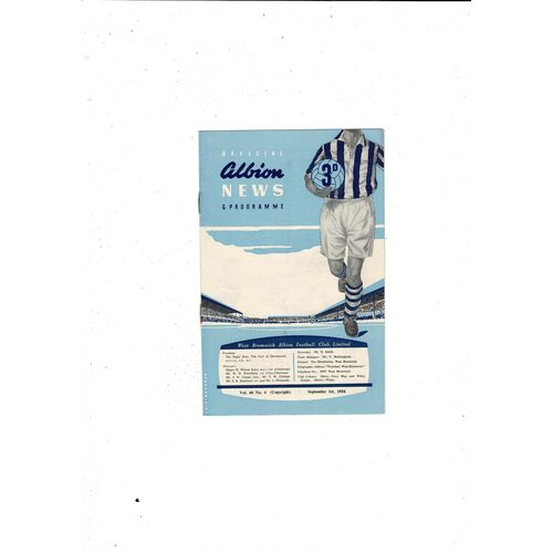 1954/55 West Bromwich Albion v Newcastle United Football Programme