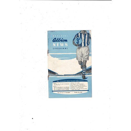 1955/56 West Bromwich Albion v Aston Villa Football Programme