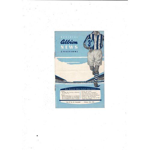 1955/56 West Bromwich Albion v Birmingham City FA Cup Football Programme