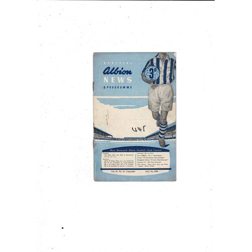 1955/56 West Bromwich Albion v Huddersfield Town Football Programme