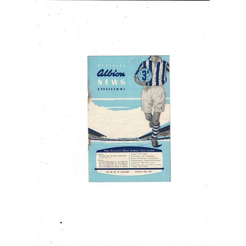 1956/57 West Bromwich Albion v Blackpool Football Programme