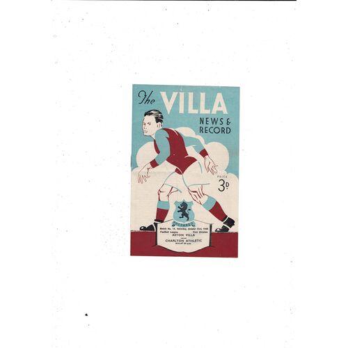 1948/49 Aston Villa v Charlton Athletic Football Programme