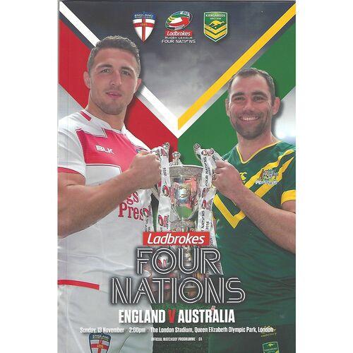 2016 England v Australia Four Nations Rugby League Programme