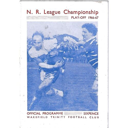 1966/67 Wakefield Trinity v Salford Championship Play-Off Rugby League programme