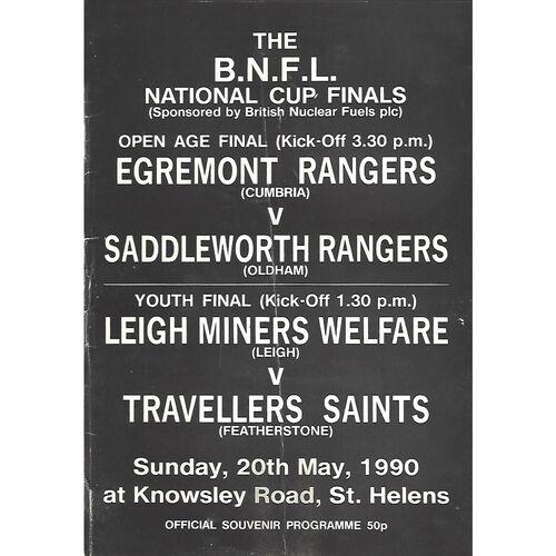 1990 Egremont Rangers v Saddleworth Rangers B.N.F.L National Cup Finals Rugby League Programme